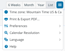 Click on the upper right menu button of the calendar view.