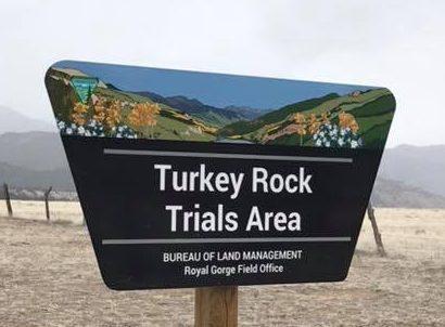 turkey rock trials area sign